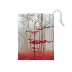 Magic Forest In Red And White Drawstring Pouches (medium)