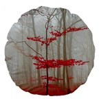 Magic forest in red and white Large 18  Premium Flano Round Cushions Back