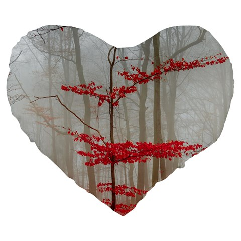 Magic forest in red and white Large 19  Premium Flano Heart Shape Cushions