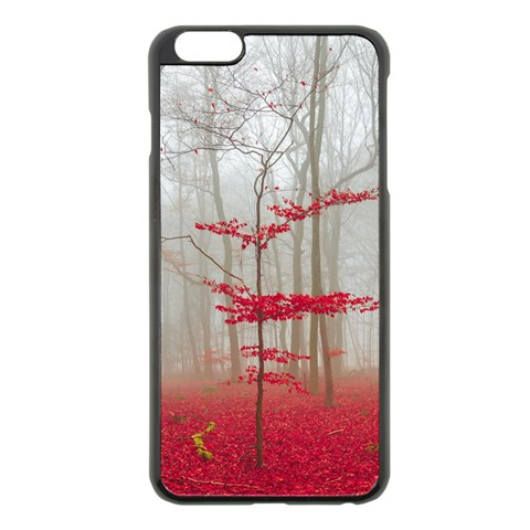 Magic forest in red and white Apple iPhone 6 Plus/6S Plus Black Enamel Case