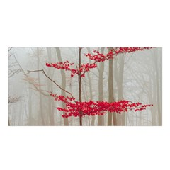 Magic Forest In Red And White Satin Shawl