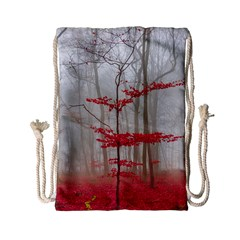 Magic forest in red and white Drawstring Bag (Small)