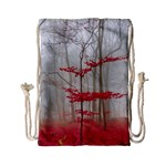 Magic forest in red and white Drawstring Bag (Small) Back