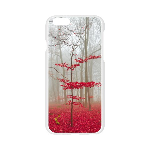 Magic forest in red and white Apple Seamless iPhone 6/6S Case (Transparent)