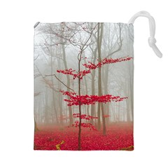 Magic forest in red and white Drawstring Pouches (Extra Large)