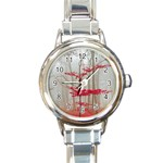 Magic Forest In Red And White Round Italian Charm Watch Front