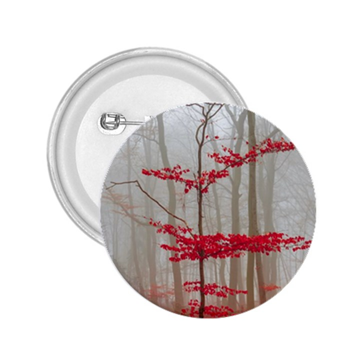 Magic Forest In Red And White 2.25  Buttons
