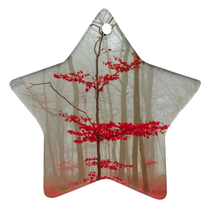 Magic Forest In Red And White Ornament (Star)