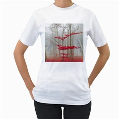 Magic Forest In Red And White Women s T Shirt (white) (two Sided)