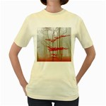 Magic Forest In Red And White Women s Yellow T-Shirt Front