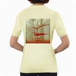 Magic Forest In Red And White Women s Yellow T-Shirt Back