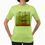 Magic Forest In Red And White Women s Green T-Shirt Front