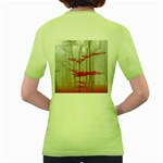 Magic Forest In Red And White Women s Green T-Shirt Back