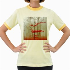 Magic Forest In Red And White Women s Fitted Ringer T Shirts