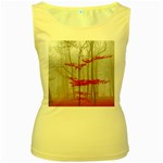Magic Forest In Red And White Women s Yellow Tank Top Front