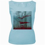 Magic Forest In Red And White Women s Baby Blue Tank Top Front