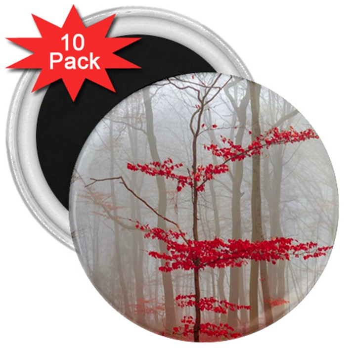 Magic Forest In Red And White 3  Magnets (10 pack)