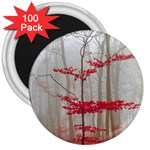 Magic Forest In Red And White 3  Magnets (100 pack) Front