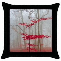 Magic Forest In Red And White Throw Pillow Case (black)