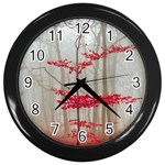 Magic Forest In Red And White Wall Clocks (Black) Front