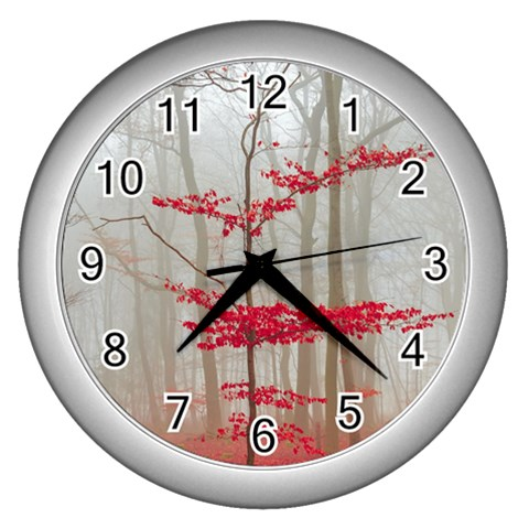 Magic Forest In Red And White Wall Clocks (Silver)