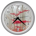Magic Forest In Red And White Wall Clocks (Silver)  Front