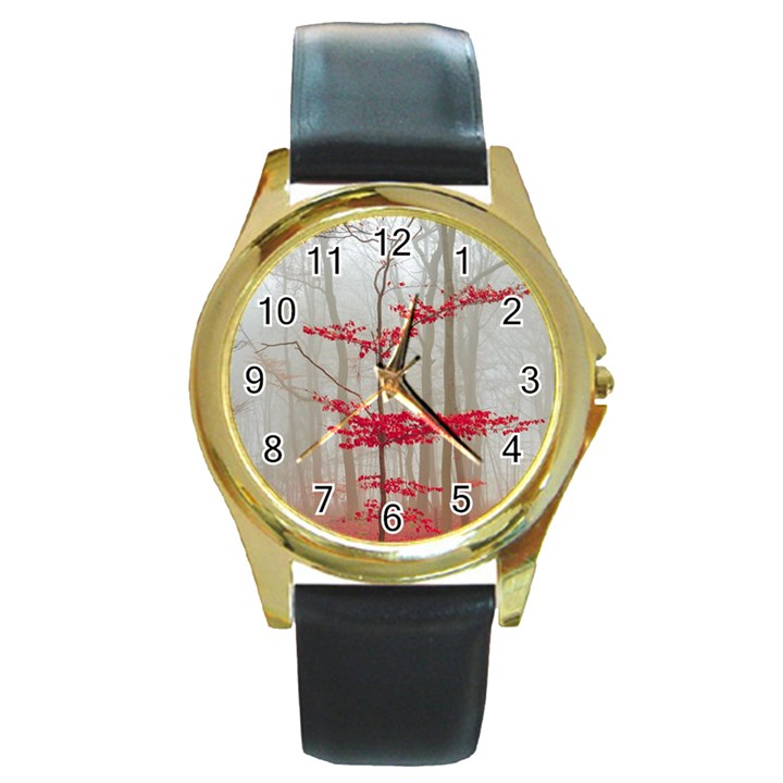 Magic Forest In Red And White Round Gold Metal Watch
