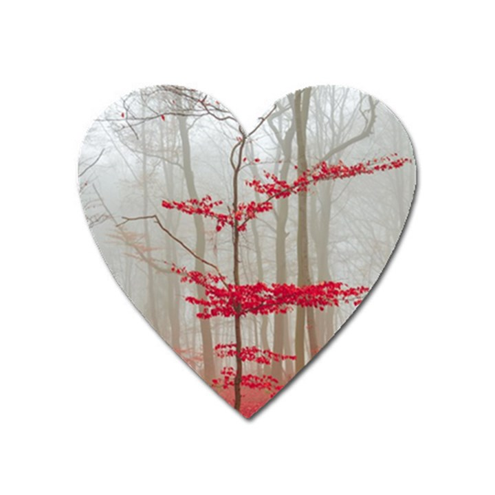 Magic Forest In Red And White Heart Magnet