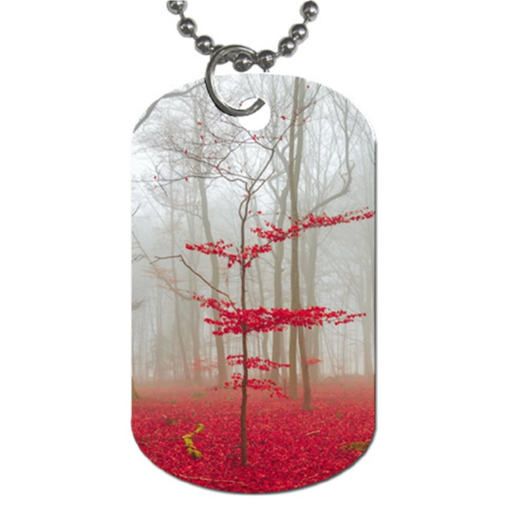 Magic Forest In Red And White Dog Tag (One Side)