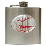 Magic Forest In Red And White Hip Flask (6 oz) Front