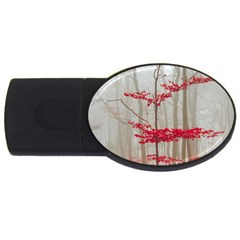 Magic Forest In Red And White USB Flash Drive Oval (1 GB)