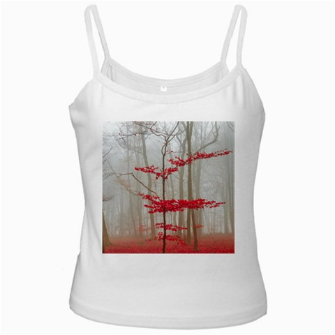 Magic Forest In Red And White Ladies Camisoles