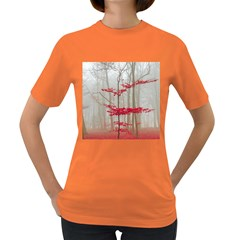 Magic Forest In Red And White Women s Dark T Shirt