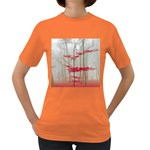 Magic Forest In Red And White Women s Dark T-Shirt Front