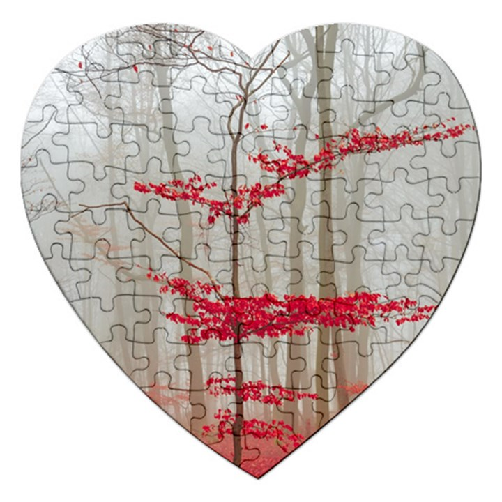 Magic Forest In Red And White Jigsaw Puzzle (Heart)