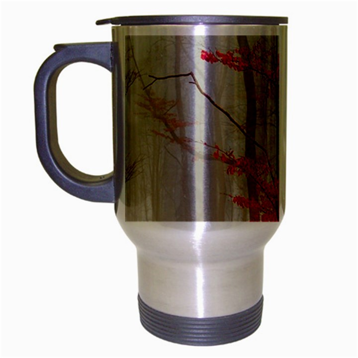 Magic Forest In Red And White Travel Mug (Silver Gray)