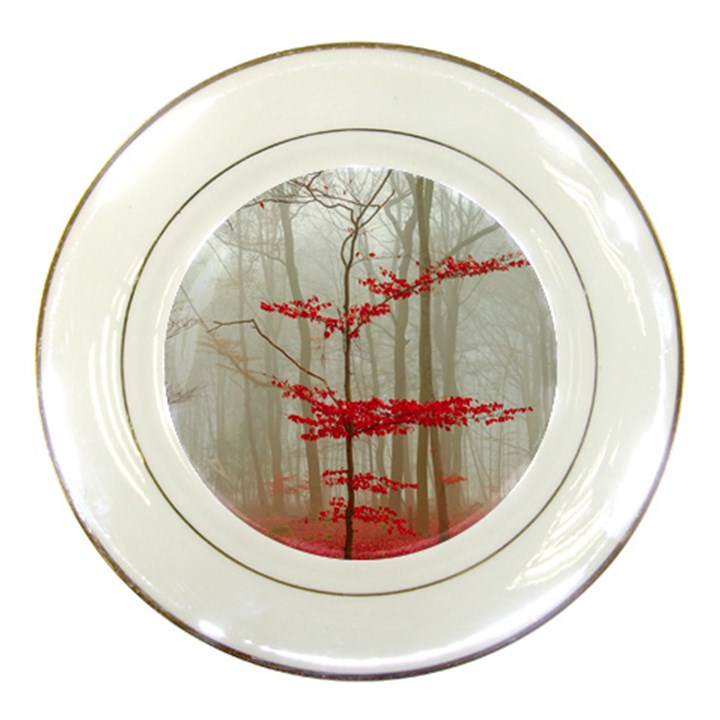 Magic Forest In Red And White Porcelain Plates