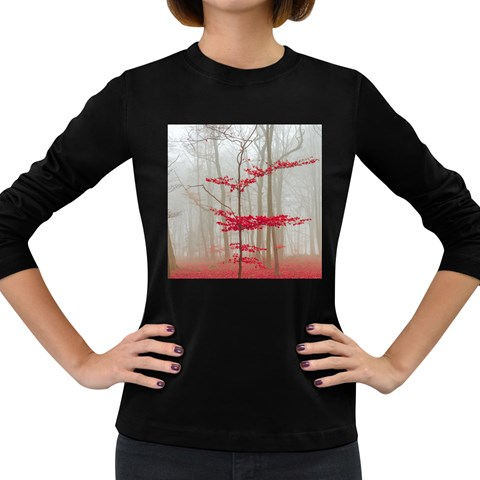 Magic Forest In Red And White Women s Long Sleeve Dark T-Shirts