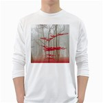 Magic Forest In Red And White White Long Sleeve T-Shirts Front