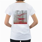 Magic Forest In Red And White Women s Loose-Fit T-Shirt (White) Back