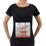 Magic Forest In Red And White Women s Loose-Fit T-Shirt (Black) Front
