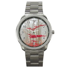 Magic Forest In Red And White Sport Metal Watch