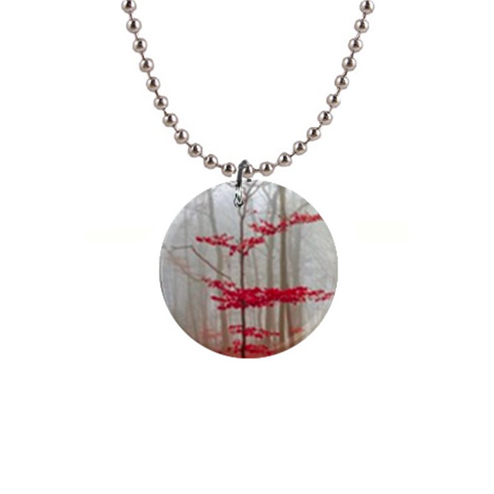 Magic Forest In Red And White Button Necklaces