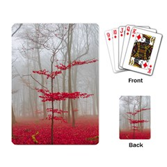 Magic Forest In Red And White Playing Card