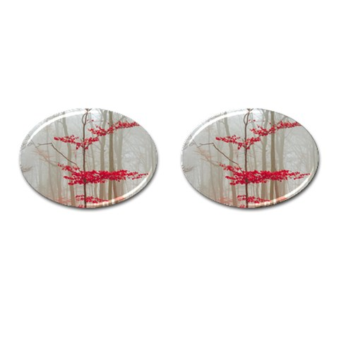 Magic Forest In Red And White Cufflinks (Oval)