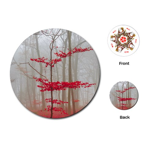 Magic Forest In Red And White Playing Cards (Round)