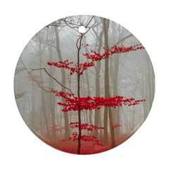 Magic Forest In Red And White Round Ornament (two Sides)