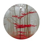 Magic Forest In Red And White Round Ornament (Two Sides)  Front