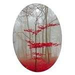 Magic Forest In Red And White Oval Ornament (Two Sides) Back