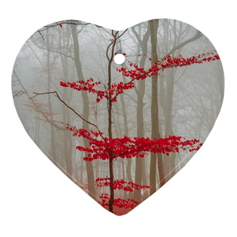 Magic Forest In Red And White Heart Ornament (2 Sides)